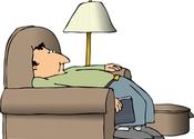 Main thumb man slumped in chair