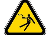 Main thumb electrical shock electrocution symbol sign isolate white background vector illustration eps accident alarm area arrow battery 154066060