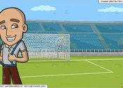 Main thumb a skinhead wearing suspenders and a soccer field with stadium seating background 1200x1200
